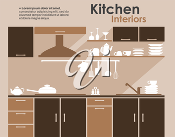 Kitchen interiors flat design in shades of brown with built in cabinets and appliances with kitchenware and crockery on shelves