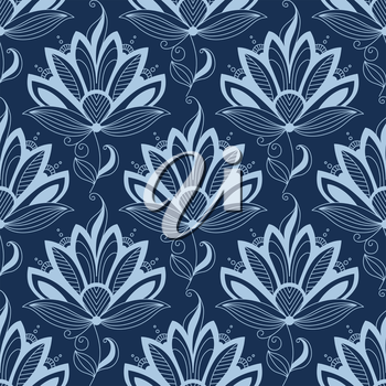 Blue floral seamless pattern in paisley indian or persian style, on dark blue colored background. Suitable for wallpaper and textile design