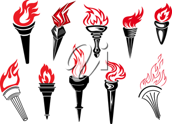Flaming torch icons with burning flames for sport and history symbols design