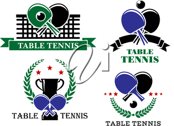 Four Table Tennis emblems or badges with crossed bats and one with a net, one a trophy and wreath, one a ribbon banner and one stars and a wreath, all with text Table Tennis. Vector illustration