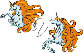 Cartoon magic fantasy unicorn characters with curly mane, for mythology and fairytale design