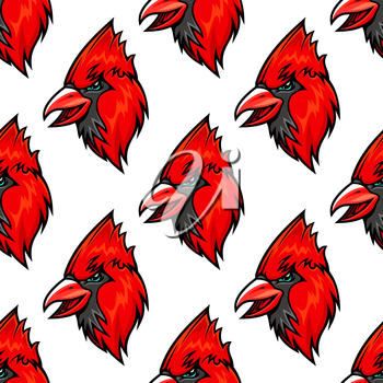 Red cardinal bird seamless pattern in cartoon style