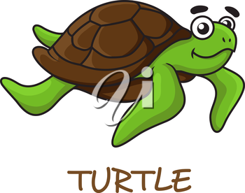 Cute happy green turtle with brown shell in cartoon style isolated on white