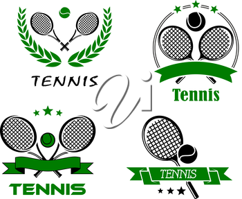 Set of Tennis badges or emblems logo with rackets and a ball above ribbon banners or enclosed in a laurel wreath and text Tennis in various fonts, vector illustration on white