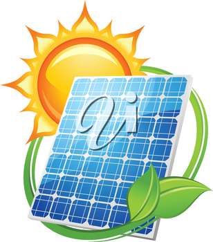 Solar energy and power concept to save the environment with a photovoltaic solar panel under a hot sun encircled with green leaves, vector illustration on white