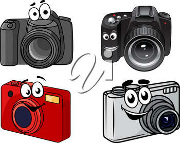 Cartoon digital cameras showing point and shoot, compact and professional dslr with smiling faces, vector illustration on white