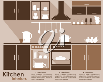 Kitchen interior infographic template in flat style with built in appliances, cabinets, utensils, and contents in the dishwasher and oven in shades of brown with copyspace for text