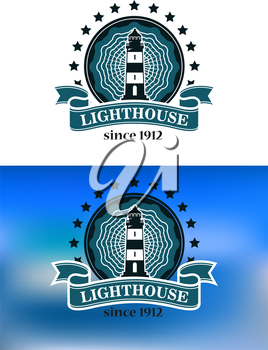 Nautical or marine themed badge or emblem with a lighthouse enclosed in a round frame with stars and a ribbon banner on a blue or white background