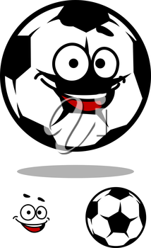 Soccer ball character with happy face in cartoon style for sports design