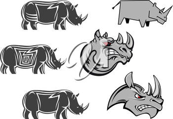 Aggressive cartoon rhino mascots with red eyes and terrifying grin for sport emblem, logo or tattoo design
