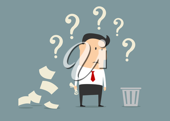 Perplexed confused businessman out of ideas standing alongside a pile of crumpled paper staring at a waste paper bin surrounded by question marks