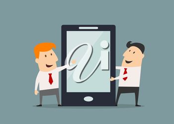Cartoon businessmen presenting big smartphone showing on blank with place for text screen suitable for digital device presentation and advertisement concept design