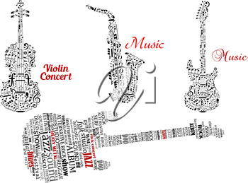 Abstract black guitar, violin, saxophone made from notes, music symbols and tag clouds with red captions music and violin concert for music design