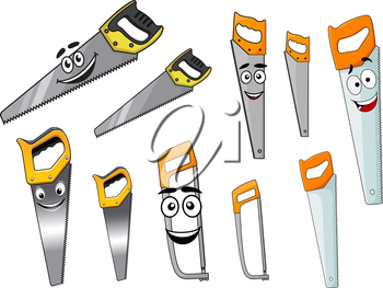 Cartoon sharp hand saw and hacksaw tools characters with smiling faces isolated on white