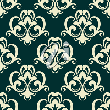 Beige on green seamless floral pattern with dainty flowers