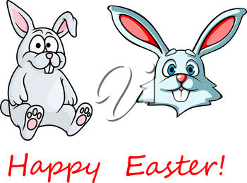 Easter greeting card showing sweet cartoon bunnies with long pink ears and cute little tail isolated on white background decorated red caption Happy Easter