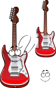 Red electric guitar cartoon character showing cheerful musical instrument with detailed body isolated on white background for art design