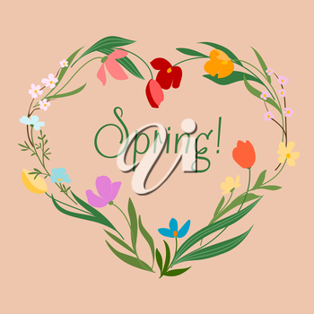 Spring floral heart with colorful flowers and text  Spring  in the center for invitation card design