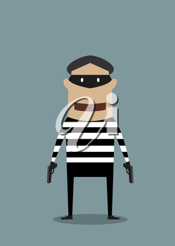 Cartoon character thief or robber wearing a mask and striped prison clothes and toting two handguns standing facing the viewer