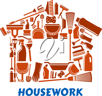 Cleaning tools and supplies in house shape including mop, broom, bucket, brushes, gloves, sponges, dustpan, plunger, squeegee and detergent bottles