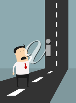 Business problem solving concept with a horrified cartoon businessman standing looking at a road as it make a perpendicular right angle bend wondering how he can solve the problem to reach the top