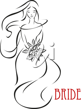Silhouette of shy bride in long wedding dress holding flowers isolated on white background suitable for wedding or bridal shower invitation design
