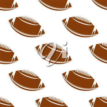 Abstract american football seamless pattern showing classic leather brown rugby balls with lacing on white background suited for fabric or wrapping design