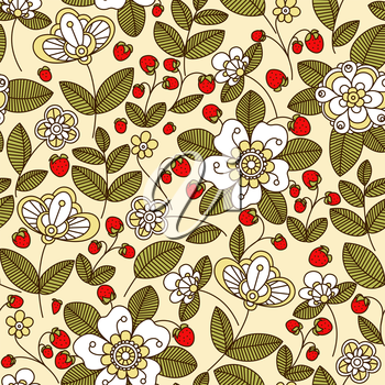 Colorful strawberry floral seamless pattern with white flowers and red berries on trailing vines in pastel muted shades