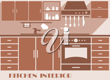 Kitchen interior design graphic in shades of brown of a modern fitted kitchen with cabinets and appliances