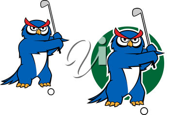 Cartoon owl playing golf with two variations, one with green grass behind, for sports mascot design