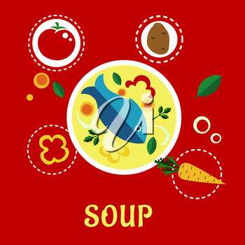 Cooking fish soup with fish, vegetables and herbs surrounded ingredient icons including whole and sliced tomato, potato, bell pepper, onion, carrot and parsley. Flat style