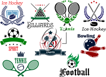 Team and individual sports heraldic emblems with game equipments and design elements for football, soccer, billiards, ice hockey, tennis, bowling and darts