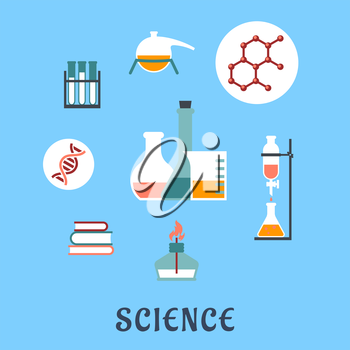 Colored flat science and medical icons with research books, distillation, atomic structure, experiments, flasks and bunsen burner
