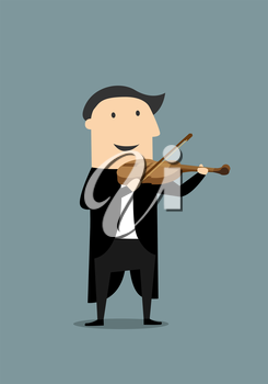 Smiling musician in elegant black tailcoat playing a violin. Cartoon flat style, suitable for music or comics concept design