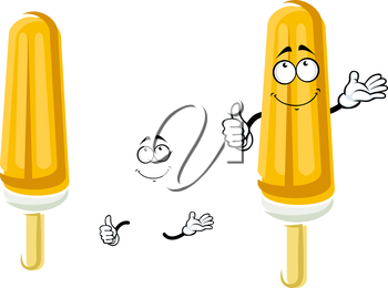 Happy orange popsicle cartoon character on wooden stick with vanilla ice cream covered by fruity ice for snack food design