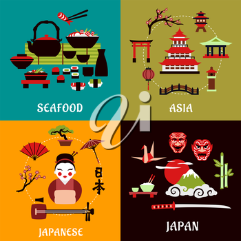 Japanese culture, history and cuisine flat designs with seafood menu, asian architecture, costume, musical and theatre symbols, nature landscape, bonsai and origami arts