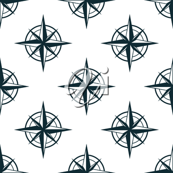 Seamless pattern with repeated motif of vintage star shaped nautical compasses on white background,  for travel or textile design