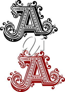 Vintage capital letter A in red and black color variations with decorative flourishes in victorian style, isolated on white background, for monogram or font design