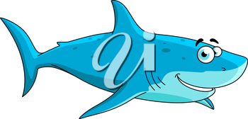 Cartoon swimming big shark character with light blue underside and blue spotted dorsal area, isolated on white.May be use in mascot design