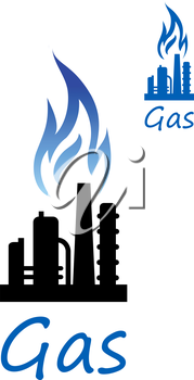 Natural gas extraction or oil refinery factory black silhouette with chimney pipes, flare stack and blue flame above. Industrial icon