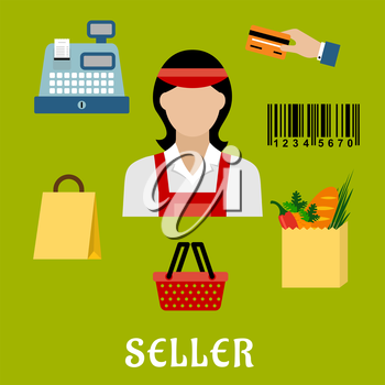 Seller profession concept with shopping icons including a bag, till or cash register, credit card payment, bar code and bag of groceries around a female shop assistant