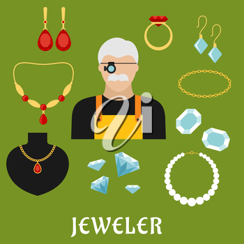 Jeweler profession concept with moustached man in magnifying glasses, surrounded by elegant gold ring, earrings, chains, pendant, bracelets and necklaces with diamonds, rubies and pearls. Flat style