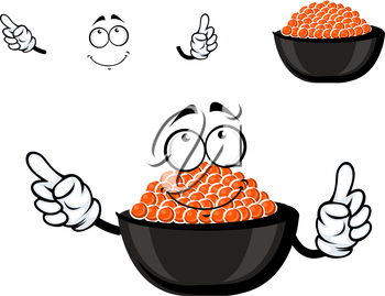 Red caviar bowl cartoon character with cold salmon caviar, for seafood or delicatessen menu themes