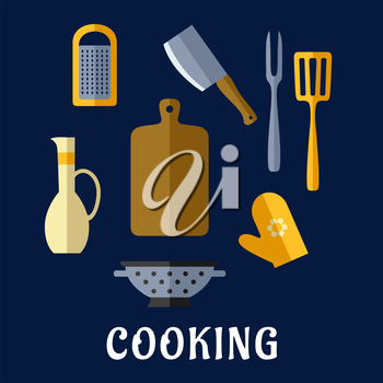 Food utensils  and kitchenware flat icons with chopping board, cleaver knife, carving fork, spatula, grater, colander, oil jug and oven glove on blue background with text Cooking