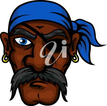 Brutal african american pirate cartoon character with blue bandanna, eye patch, golden earrings and long moustache, for marine and adventure theme