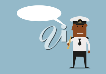 Ship captain in white uniform and cap holding spyglass in hands with blank speech bubble above head. Cartoon style
