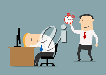 Smiling businessman or manager sneaks to sleeping colleague to wake with alarm clock, for overworked or joke concept. Flat style