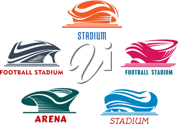 Bright colorful sporting stadiums or arenas icons for football or soccer, rugby, baseball and basketball competitions or trainings. Isolated background