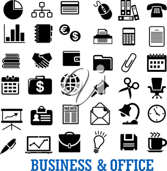 Business, finance and office flat icons with laptop, telephone, finance chart, idea, calendar, currency, handshake, briefcase, chair, documents, mail, wallet, globe and stationery
