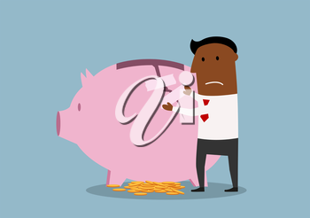 Cartoon african american businessman repairing damaged piggy bank to protect savings. Finance recovery theme design